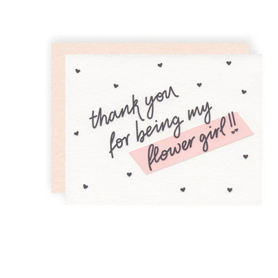 black text Thank you Flower Girl crema card black polka dot hearts pink envelope blank inside