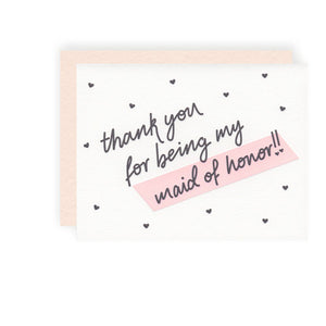 text thank you for being my maid of honor cream card pink envelope polka dot hearts blank inside