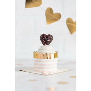 pink & white horizontal striped cup, gold foil border, white frosted cupcake, purple heart topper