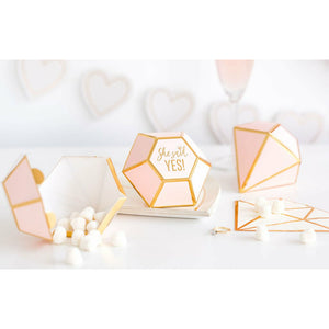 blush pink and gold trimmed diamond shaped favor boxes