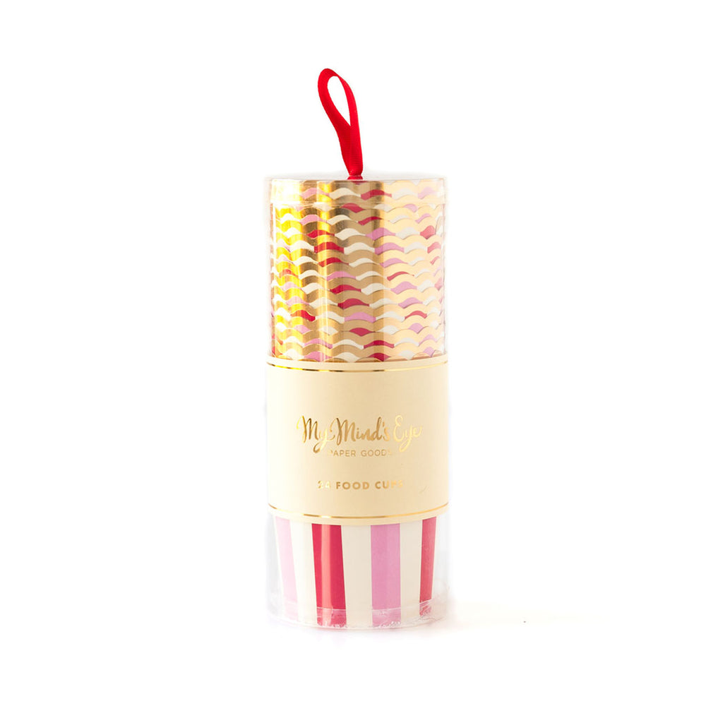 package of red, white, pink and gold trimmed treat cups