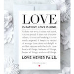 Love Is Patient white Greeting Card silver envelope black text blank inside