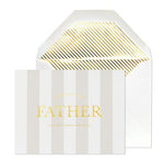 white-grey stripe card gold text A note to my father on my wedding day white envelope gold liner