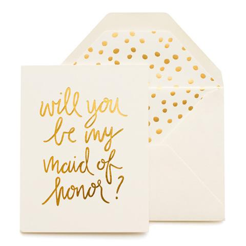 cream card gold text says will you be my maid of honor cream envelope gold dot pattern liner