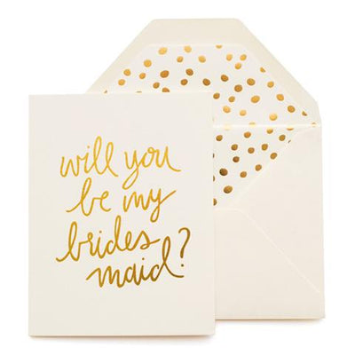 cream greeting card gold text says will you be my bridesmaid cream envelope gold dot pattern liner