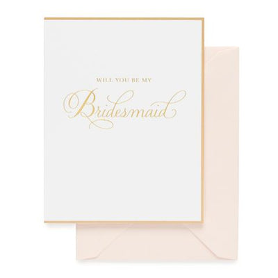 white greeting card pink envelope gold text will you be my bridesmaid