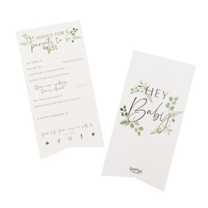 2 white cards with floral print, inscription for advice to new parents and parents to be