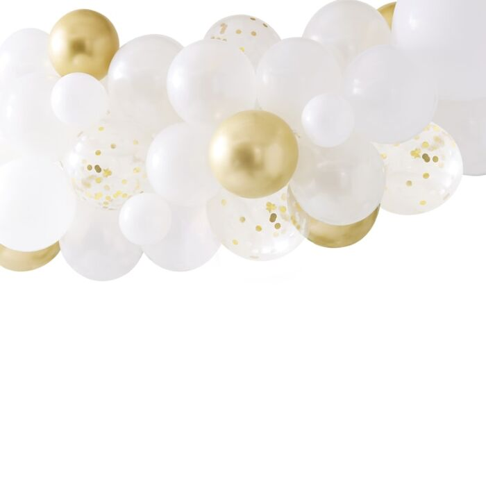 gold, white, & clear confetti balloons