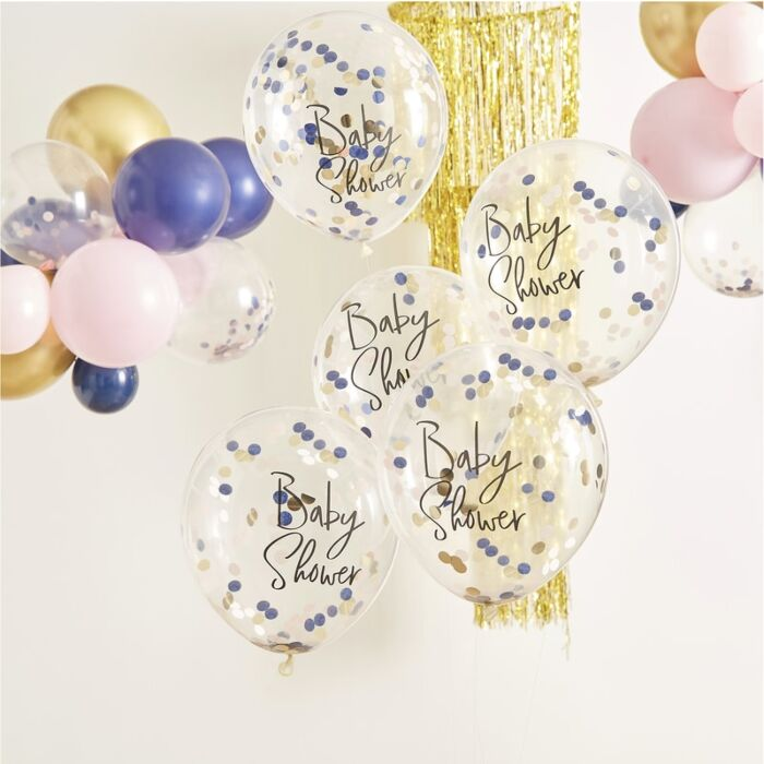 navy-blue, blush-pink and gold confetti-filled balloons and purple, pink, gold latex balloons