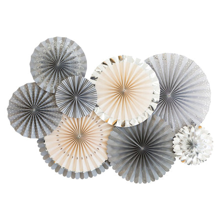 grey, silver, & blush pink party fans