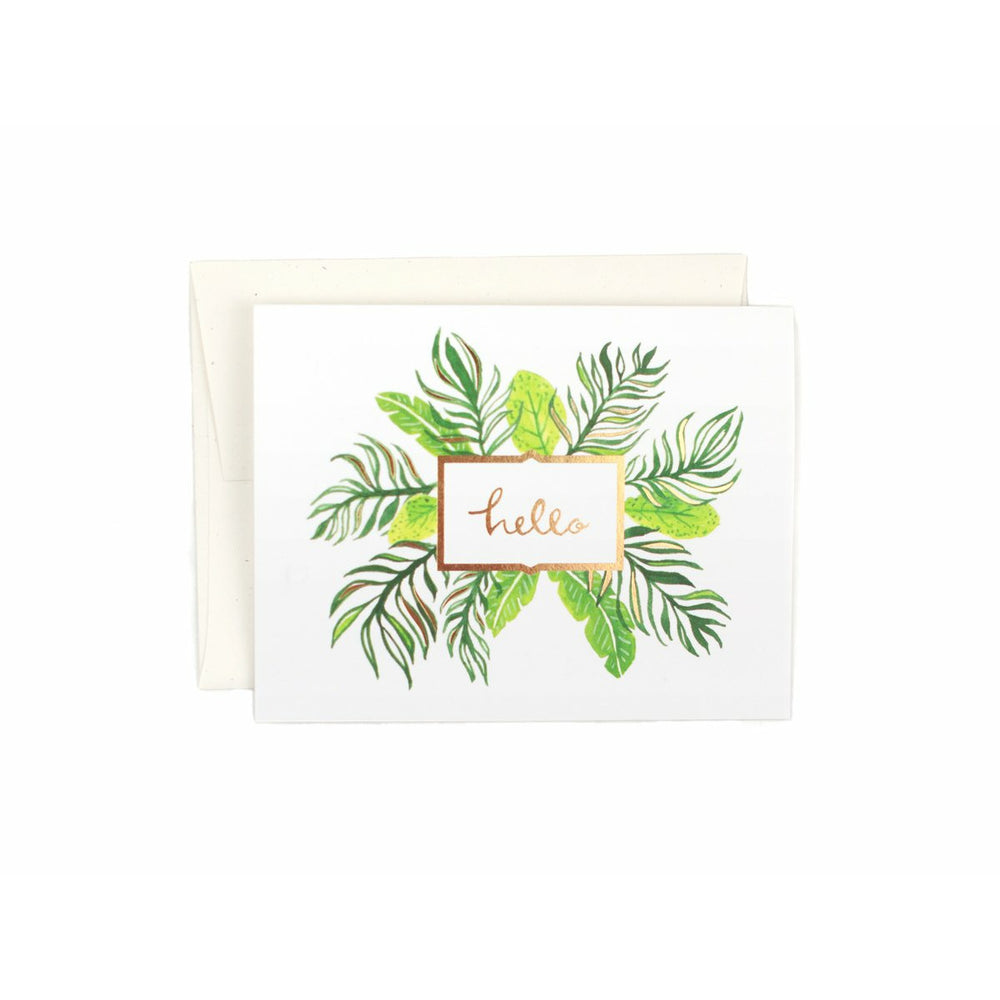 white greeting card cream envelope green palm tree leaves with text that says Hello blank inside