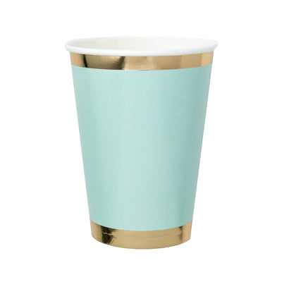 mint green paper cup with gold foil border rim and base