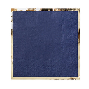 navy paper napkin with gold foil border