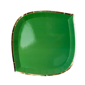 green paper plate with gold trim