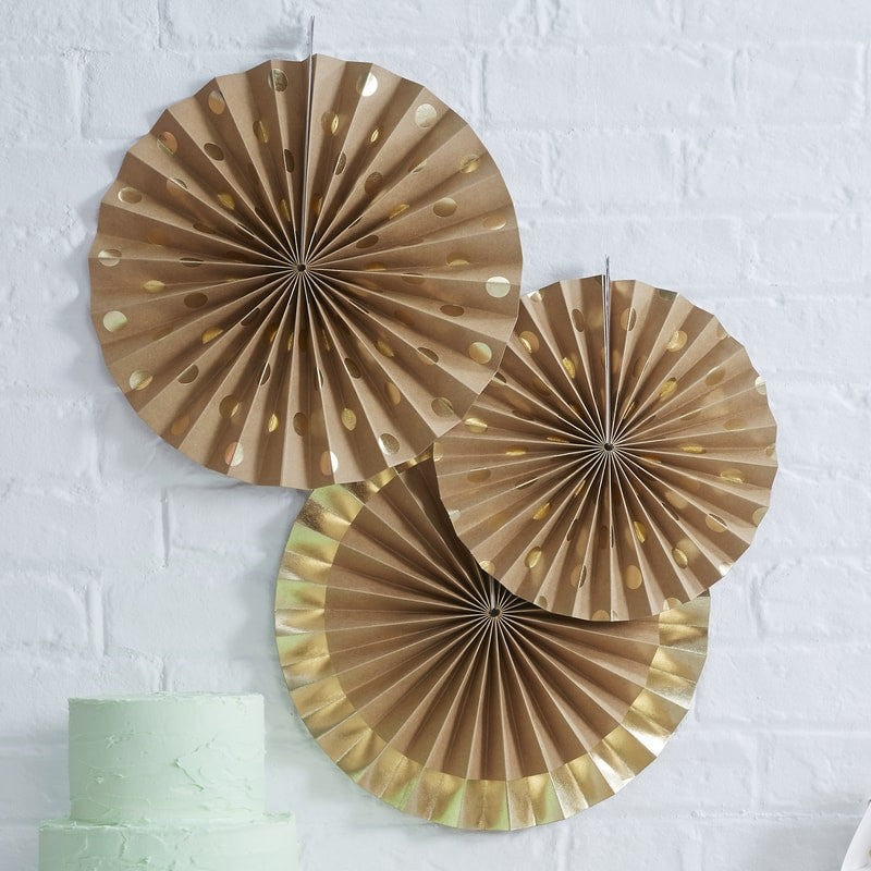3 kraft circle paper fans-2 with gold foil polka dot allover print & 1 has gold foil striped border
