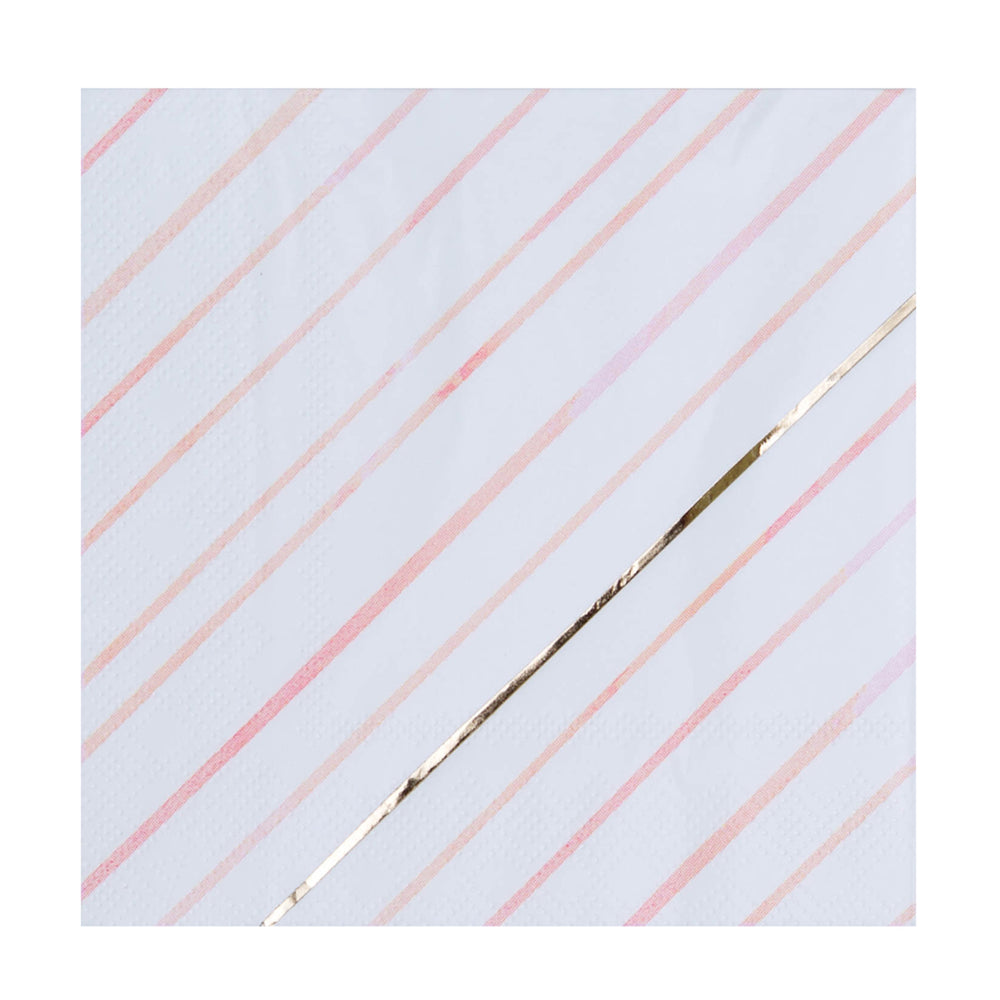 white, pink, peach, & gold foil diagonal striped pattern napkin