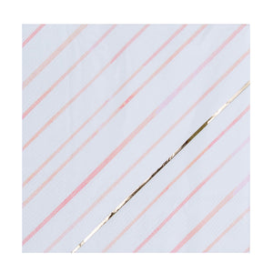 Load image into Gallery viewer, white, pink, peach, & gold foil diagonal striped pattern napkin