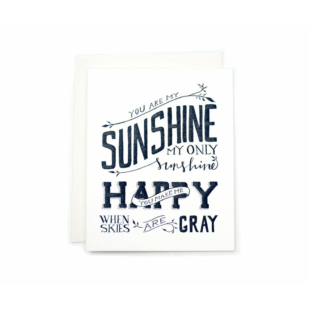white card white envelope text You Are My Sunshine - Grace of Design