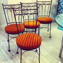 Load image into Gallery viewer, Set of 4 Wrought Iron Bistro Chairs