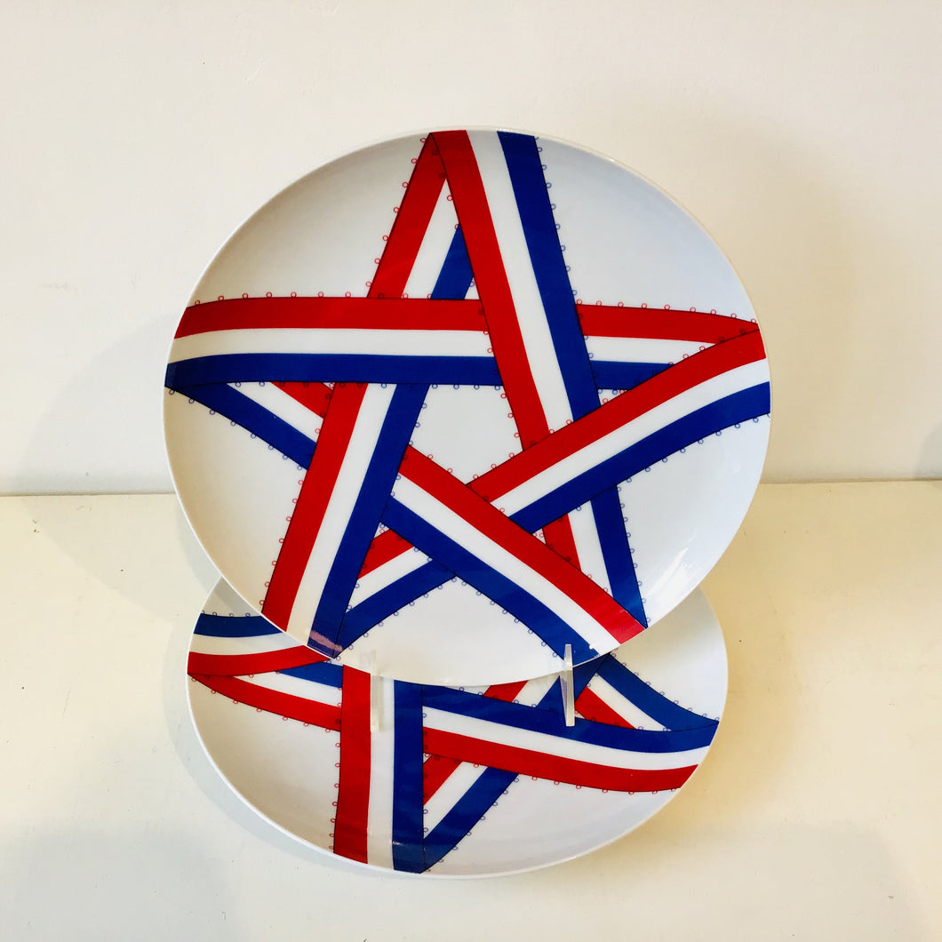 Pair of Red, White & Blue Dinner Plates