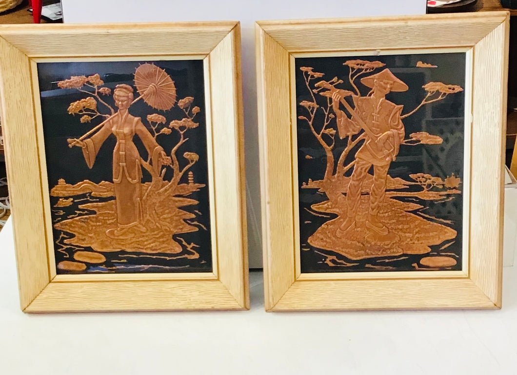 Vintage Copper Relief pair of Chinese Man & Lady