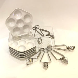 Set of 6 Escargot Plates & Tongs