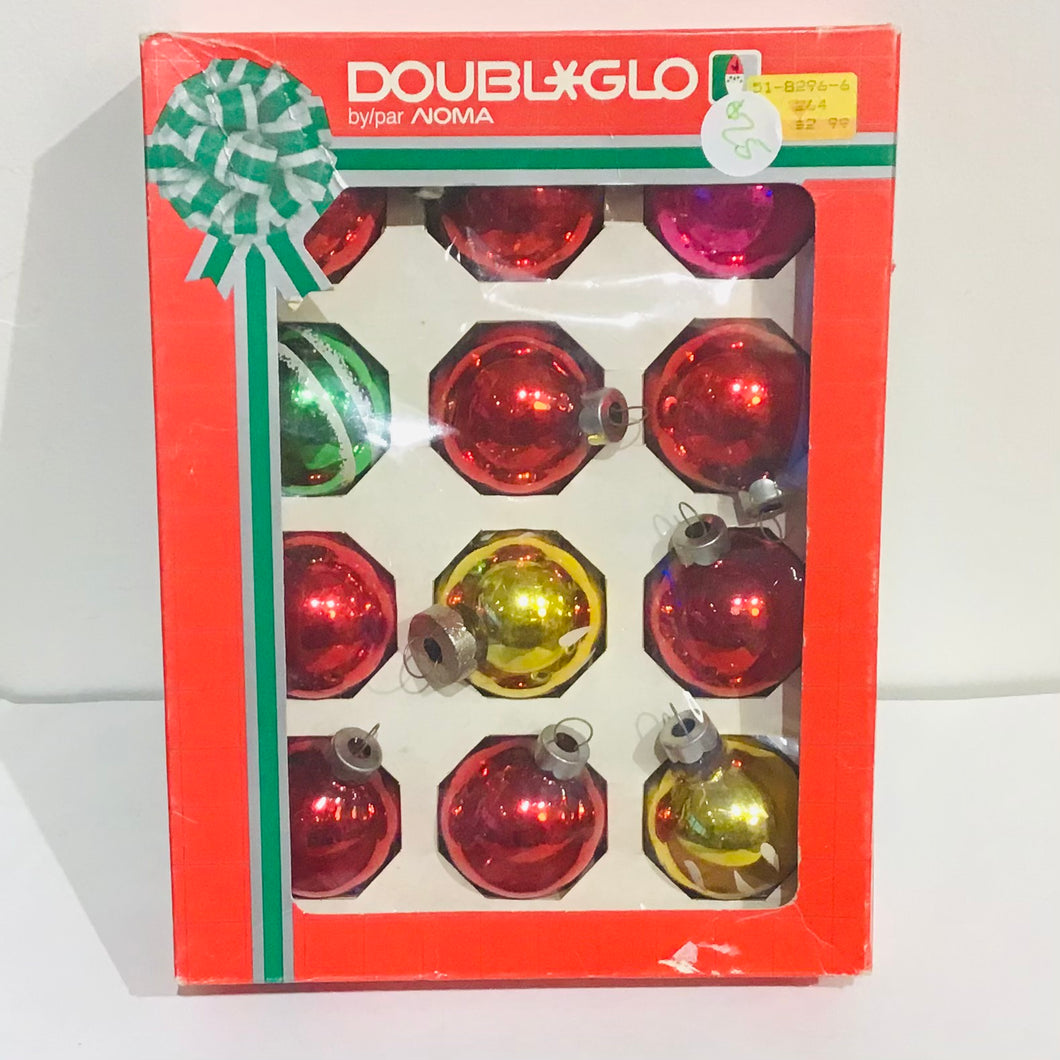 Vintage Doubl*Glo Christmas balls by Noma