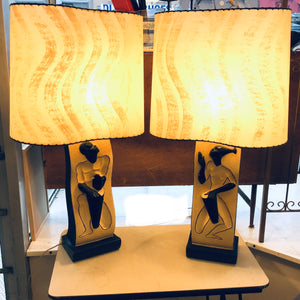 Pair of F.A.I.P Chalkware Lamps
