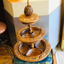 Load image into Gallery viewer, Monkey pod Tiki 3 Tier Lazy Susan Server