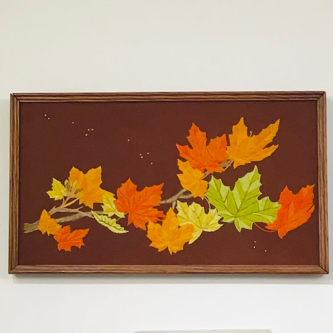 Vintage Maple Leaves Yarn Embroidery Art