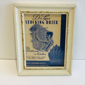 Vintage Stocking Dryer With Framed Advertisement