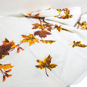 Vintage Autumn Leaves Theme Linen Tablecloth