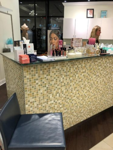 BlueMercury and Drybar set up little stations for makeup and quick hairstyles