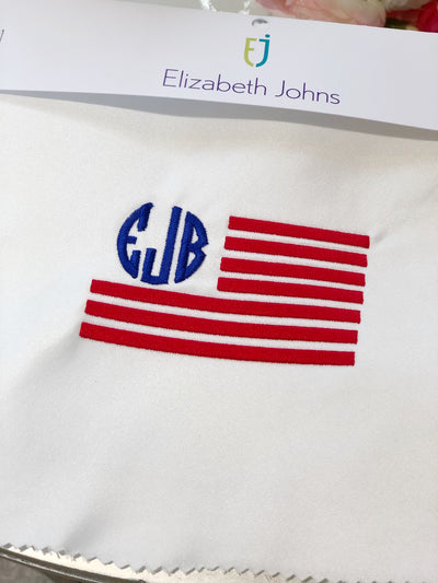 Elizabeth Johns Custom Monogram - American Flag with Initials