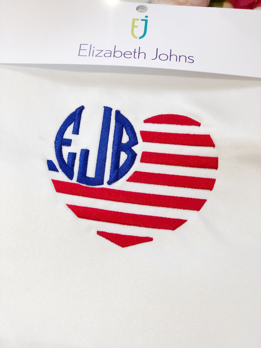 Elizabeth Johns Custom Monogram - Heart Flag