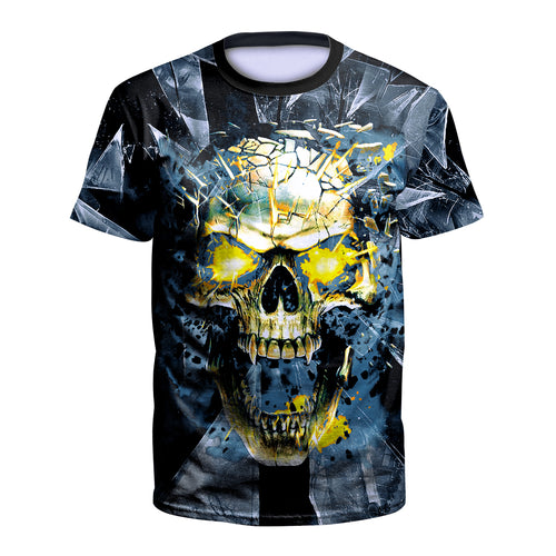 Digital 3D Halloween T Shirt Crew Neck Skull T Shirt