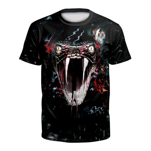 Digital 3D Halloween T Shirt Crew Neck Snake head T Shirt