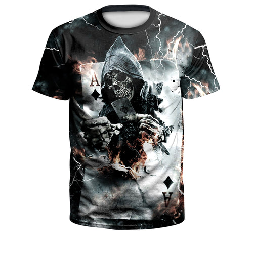 Digital 3D Halloween T Shirt Crew Neck Skull A T Shirt