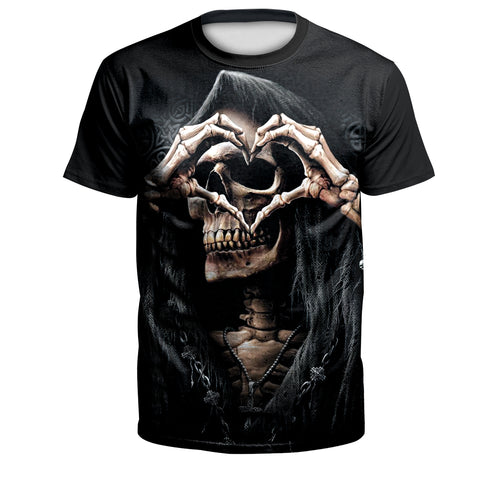 Digital 3D Halloween T Shirt Crew Neck Skull Love T Shirt