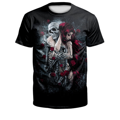 Digital 3D Halloween T Shirt Crew Neck Rose Skull T Shirt