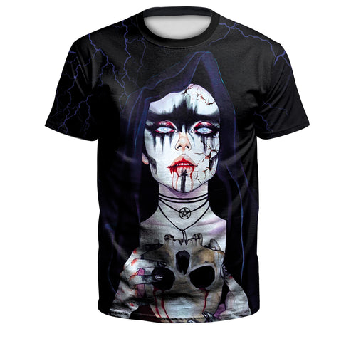Digital 3D Halloween T Shirt Crew Neck Scare Girl T Shirt