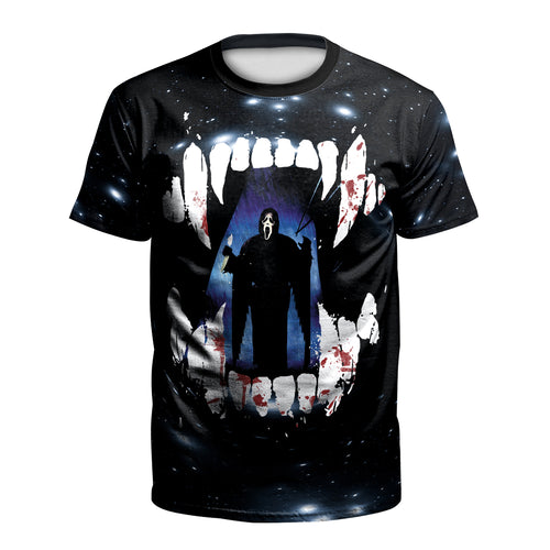 Digital 3D Halloween T Shirt Crew Neck Scare Man T Shirt