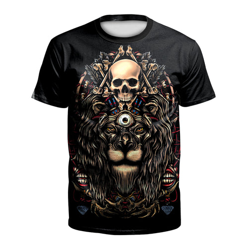 Digital 3D Halloween T Shirt Crew Neck Skull Tiger T Shirt