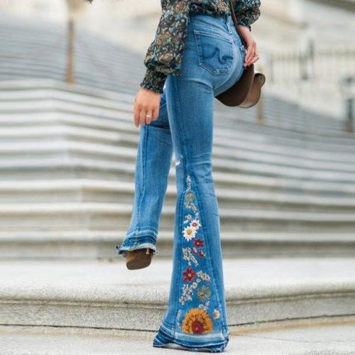 Embroidered Stretchy Denim Frayed Bell Bottom Jeans