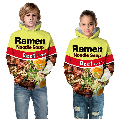 Kids Hoodie Food Ramen Needle Beef Baseball uniform