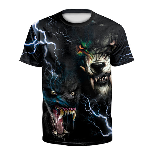 Digital 3D Halloween T Shirt Crew Neck 2 Tigers T Shirt
