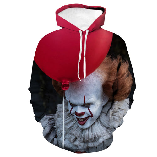 3D Halloween Red and White Clown Unisex Hoodie