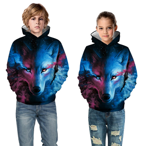 Kids Hoodie Colorful Wolf Baseball uniform