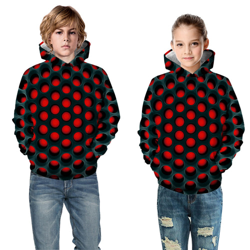 Kids Hoodie Abstract Red Baseball uniform