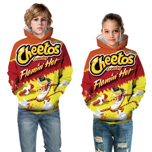 Kids Hoodie Flaming Hot Food Baseball uniform